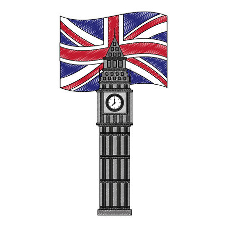 big ben tower british landmark with flag of great britain vector illustration design Фото со стока - 114968632