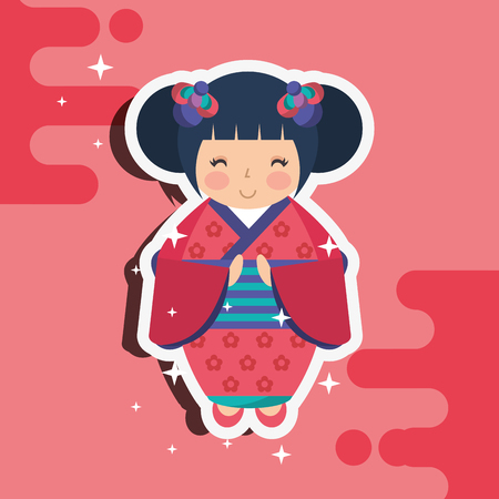 japanese kokeshi doll kimono splash star background vector illustration