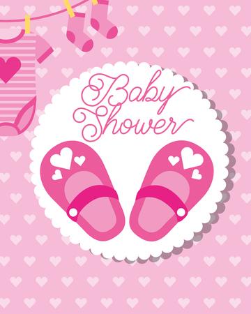 Petites chaussures roses chaussettes et body baby shower carte de voeux vector illustration