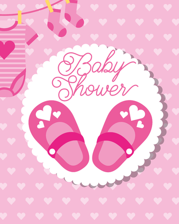 pink little shoes socks and bodysuit baby shower greeting card vector illustration Foto de archivo - 114982313