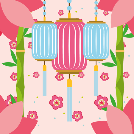 plants japanese flowers chinese lanterns vector illustration