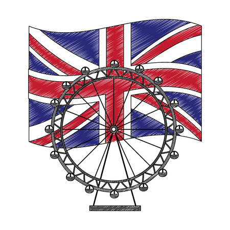 panoramic wheel amusement with flag of great britain vector illustration design