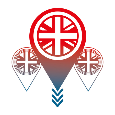 united kingdom flag in pointers map location vector illustration gradient design