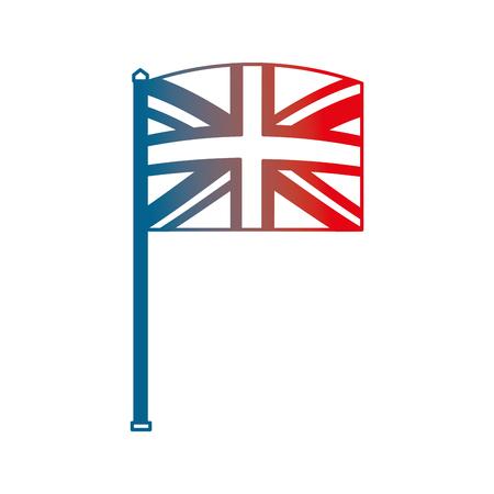 united kingdom flag in pole national symbol vector illustration gradient design