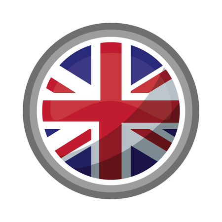 united kingdom flag in round button symbol vector illustration