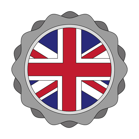 united kingdom flag in sticker decoration vector illustration  イラスト・ベクター素材