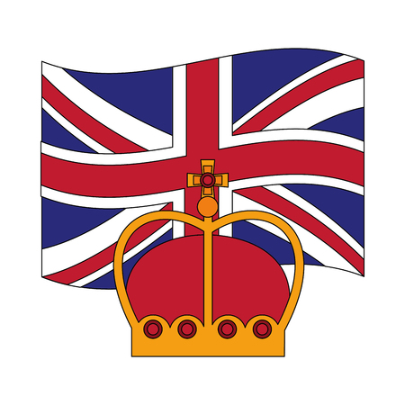 united kingdom flag and crown monarchy symbol vector illustration