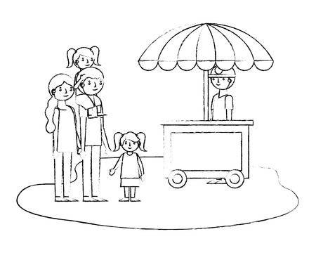 happy family dad mom and daughters with booth seller vector illustration sketch Иллюстрация