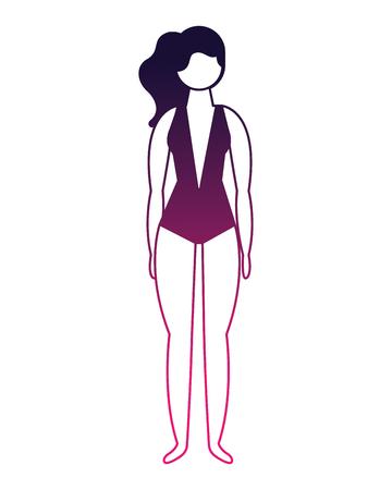 figure female woman in swimsuit vector illustration Illustration
