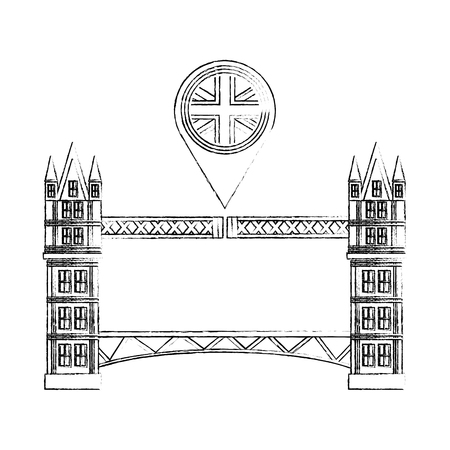 british bridge and pin location with flag great britain vector illustration design Illustration