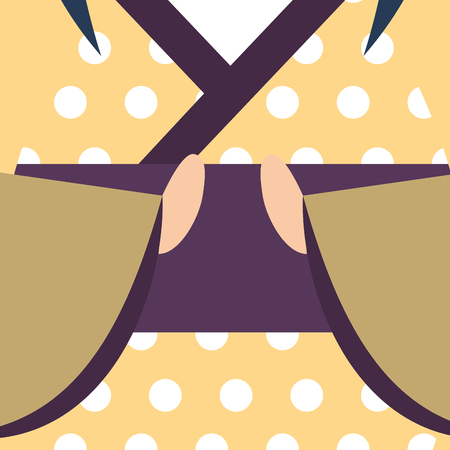 japanese kokeshi doll kimono dotted yellow dress vector illustration Reklamní fotografie - 114982316