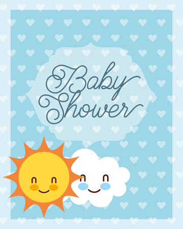 cute cloud and sun cartoon baby shower card vector illustration