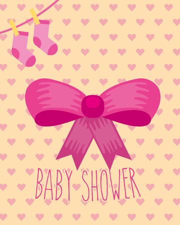 pink bow socks ribbon hearts background baby shower card vector illustration