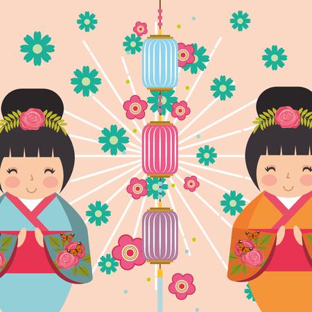 japanese kokeshi doll kimono sunburts grunge style flowers chinese lanterns vector illustration Illusztráció