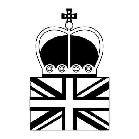 united kingdom flag royalty crown vector illustration black and white