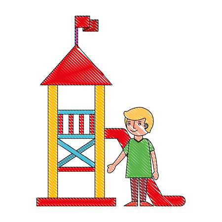 young boy in the palyground vector illustration