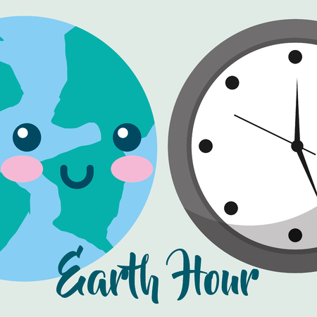 kawaii planet and clock time earth hour vector illustration