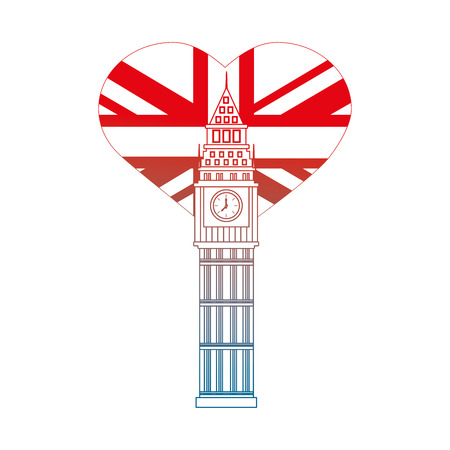 london big ben and heart with british flag vector illustration gradient design