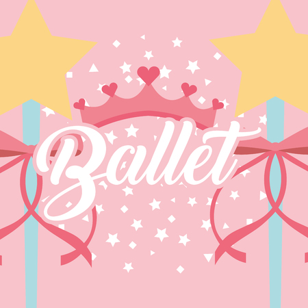 star magic wand ribbon crown ballet fantasy stars crown vector illustration