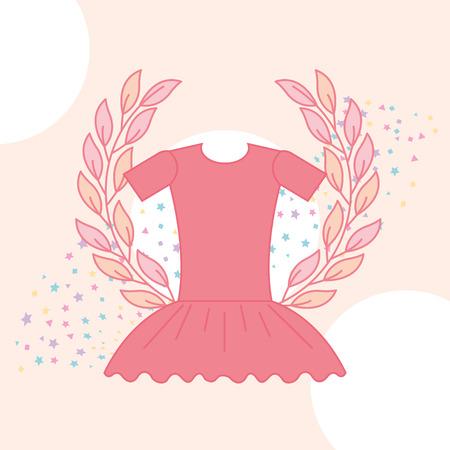 cute pink tutu ballet emblem stars vector illustration