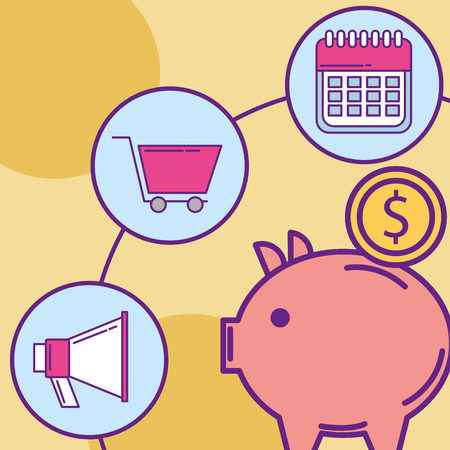 piggy bank advertising cart calendar  buy online vector illustration