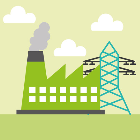 ecology factory station tower electricity vector illustration