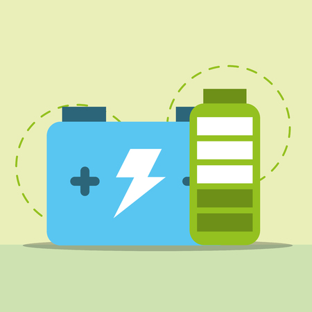 accumulator and battery energy charge vector illustration