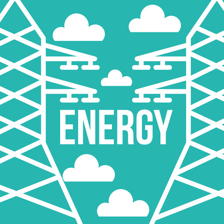 electricity towers energy renewable ecology vector illustration