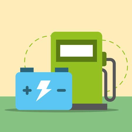 accumulator battery energy pump station gas vector illustration Standard-Bild - 114982320