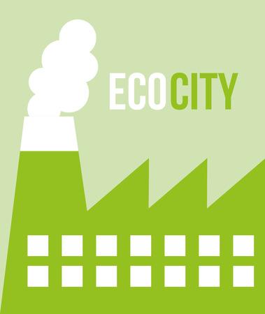 ecocity factory smoke pollution environmental vector illustration