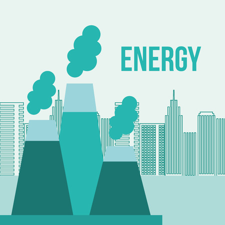 nuclear power station city energy sustainable vector illustration Illustration