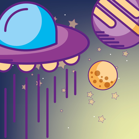 space galaxy card sparkly ufo moon planet stars vector illustration Ilustração