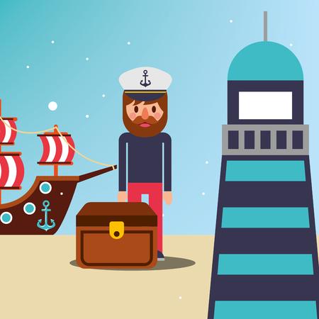 nautical maritime design treasure chest pirate lighthouse sand ship arrive vector illustration