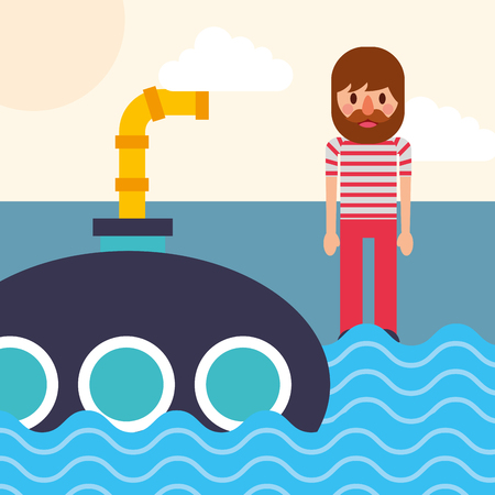 nautical maritime design cute pirate watching submarine in sea vector illustration