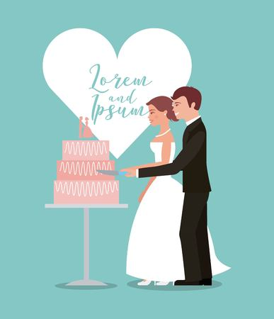 bride and groom cutting wedding cake greeting card vector illustration Illustration