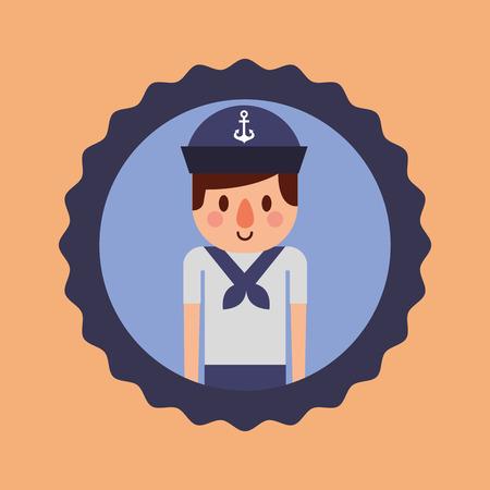 nautical maritime design sticker cute sailor vector illustration