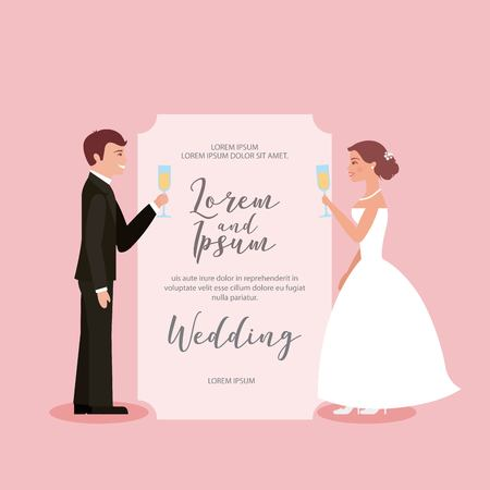 couple toasting wine glasses in wedding card vector illustration