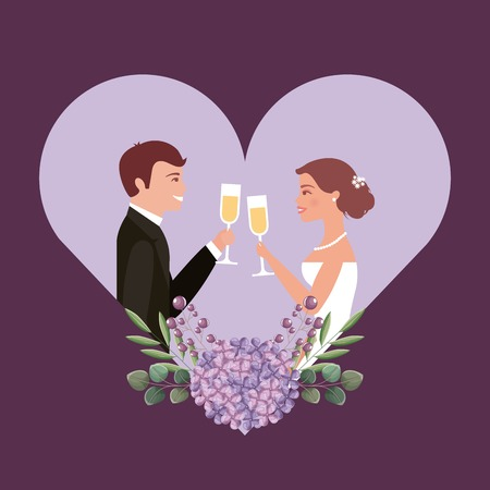 couple toasting wine glasses in heart flower wedding card vector illustration