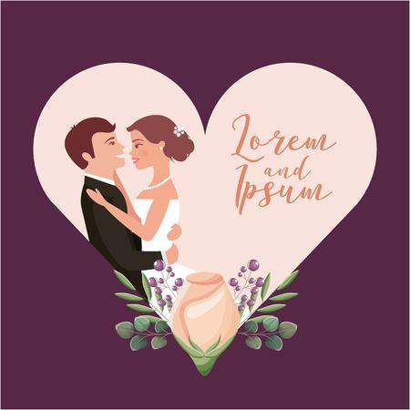 couple wedding day celebrating in heart flower decoration vector illustration Illustration