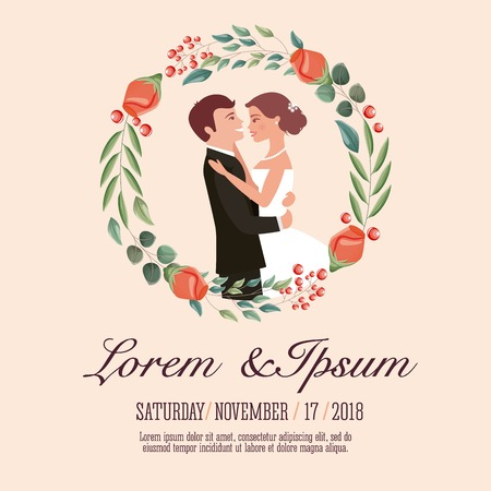 couple wedding card celebrating in wreath flower vector illustration Archivio Fotografico - 104693786