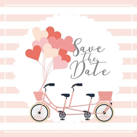 classic tandem bicycle balloons wedding save the date card vector illustration
