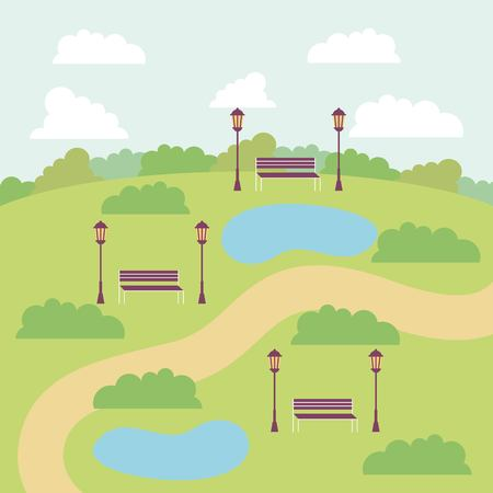 park with many lakes benches clouds vector illustration