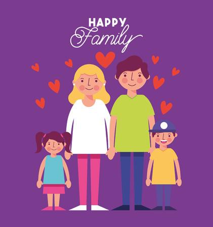red hearts love family smiling holding hands vector illustration Illustration