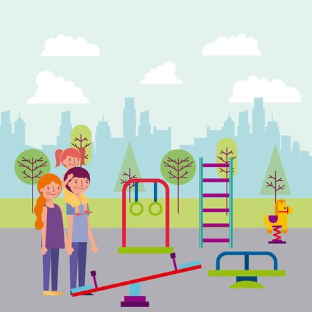 people park and city family enjoying games for children vector illustration
