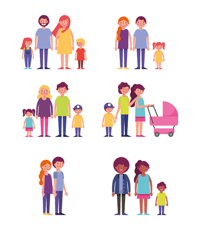 people park and city couples familys baby carriage vector illustration