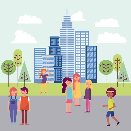 people park and city girl boy doing exercise couple holding hands womans smiling high buildings vector illustration Illustration