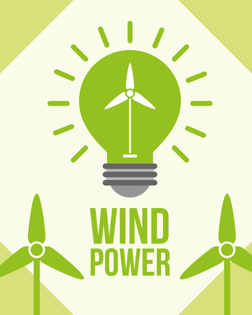 green wind power turbine ecology environmental vector illustration