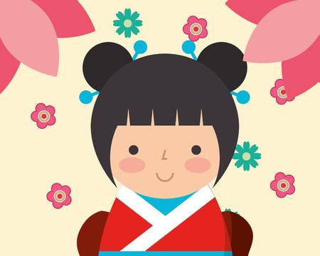 japanese kokeshi doll kimono pretty flowers colorful vector illustration Illusztráció
