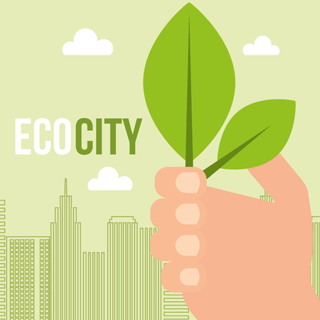 hand holding leaves ecology city concept vector illustration
