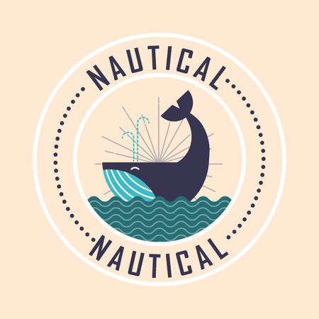 nautical maritime design cute whale ocean vector illustration
